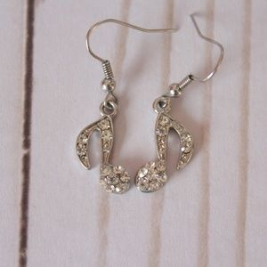 Music Note Rhinestone Earrings